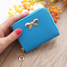 New Women Small Wallet Korean Short Bow Coin Purse Card Holder Cross Pattern Candy Color Small Square Bag