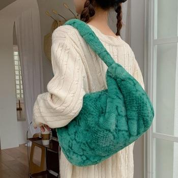 Fashion Serpentine Plush Women's Shoulder Bag Snake Pattern Faux Fur Women Handbags Designer Animal Printed Bags for Women 2021
