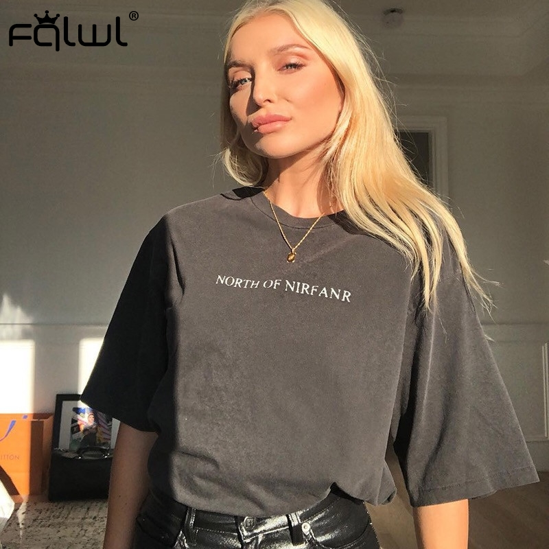 FQLWL Letter Print Harajuku Oversized T Shirt Women Top Female Gray Cotton Summer Loose Long Tshirt Streetwear Ladies Tee Shirt