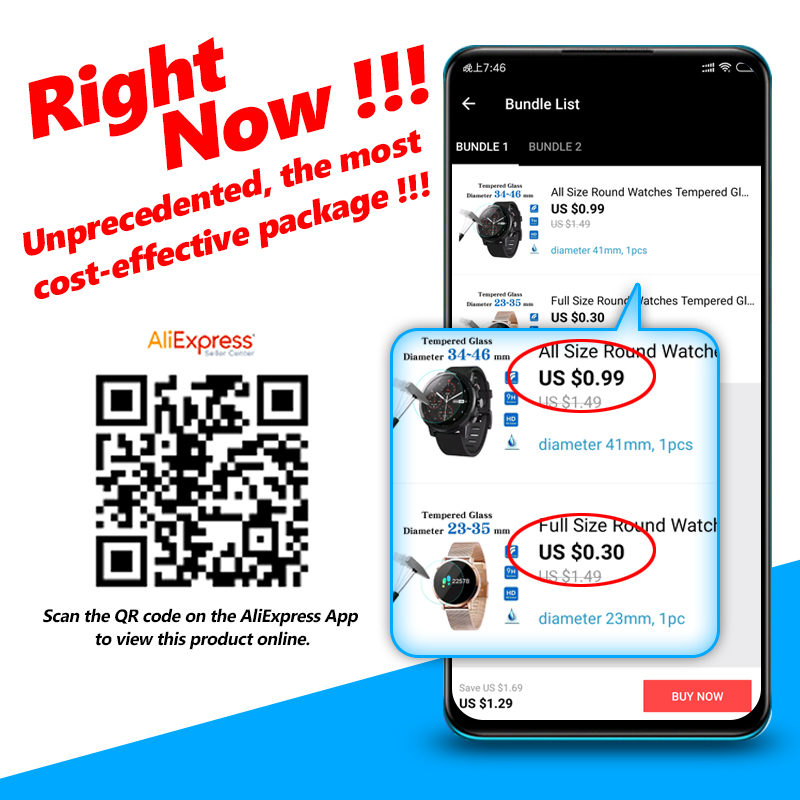 All Size Round Watches Tempered Glass Screen Protective Film Diameter 34 35 36 38 39 40 42 45 46 mm Screen Guard For Smart Watch 2