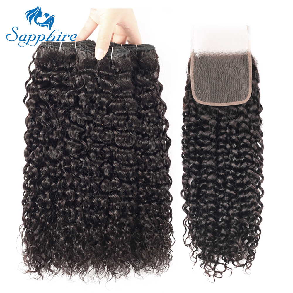Sapphire Water Wave Bundles With Closure Brazilian Hair Weave Bundles With Closure Non-Remy Human Hair 3 Bundles With Closure