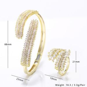 Image 5 - Luxury Cubic Zirconia Bangle Ring Set Women Wedding Jewelry Charm Opening Copper Bracelet XIUMEIYIZU Plating Jewelry Wholesale