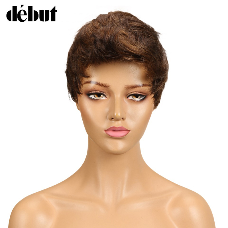 Debut Curly Pixie Cut Wigs For Women Brown Color Short Human Hair Wigs Brazilian Water Wave Short Hair Wigs Women Gifts
