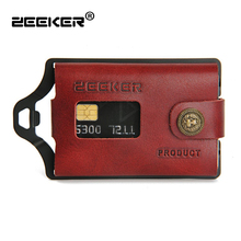 ZEEKER New Multifunctional Leather Metal Wallet Card Holder Credit Card Wallets Mens Wallets