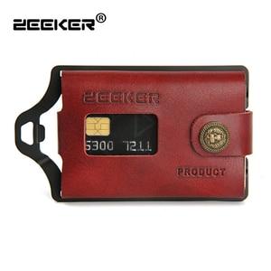 Image 1 - ZEEKER nowe wielofunkcyjne skórzane metalowe etui z miejscem na karty portfele na karty kredytowe męskie portfele