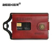 Zeeker carteira masculina de couro, nova carteira multifuncional feita em couro e de metal, com compartimento para cartões