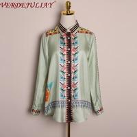VERDEJULIAY 2020 Spring New Top Quality 100% Pure Silk Blouse Women Retro Design Romantic Runway Floral Print Light Green Shirt