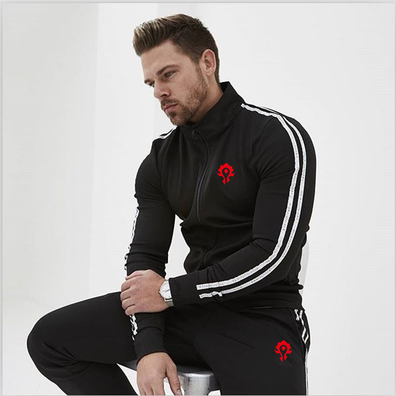 Male Tracksuit Zipper Coat Pants Gym Traning Fitness Set 2pcs/Sets Men's Sportswear Running Set Sports Set Jogging Suits Clothes