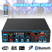 HIFI 2CH 800W Audio Power Amplifier 12/220V FM SD Mic Bluetooth Remote Control Stereo Audio Amplifier for Car Home Sound System kroak wireless bluetooth car amplifier music player 12v 220v 2ch hifi auto audio stereo power amplifier bass fm radio for home