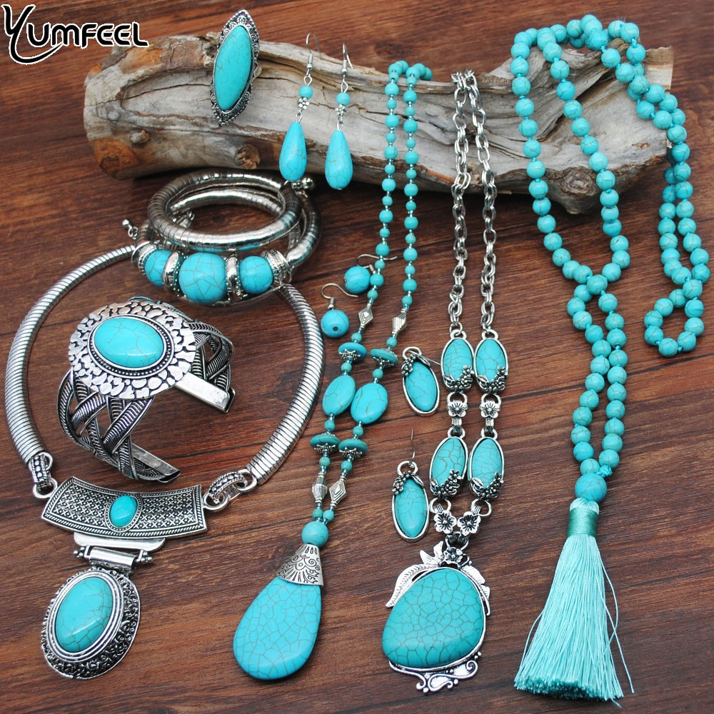 Yumfeel New Turquoise Bracelet Jewelry Set Vintage Silver Plated Necklace Bracelet Earring Ring Jewelry Sets Women