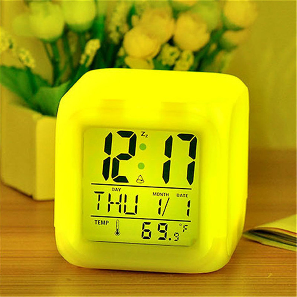 2018 New Multi-color Table Clock LED Chaning PVC Digital Alarm Clock Thermometer Cube Glowing Clock For Offices Students TSLM1