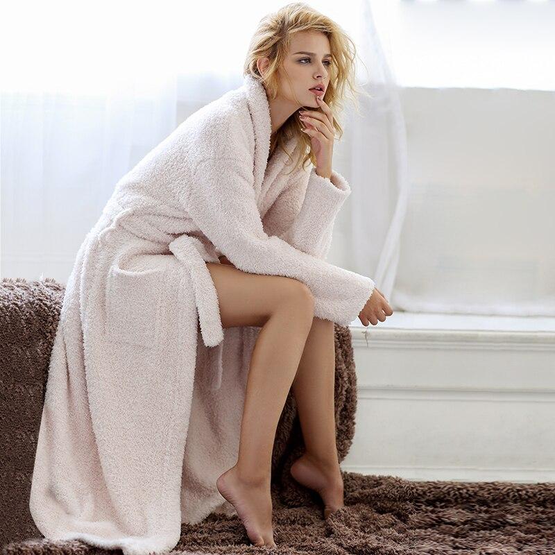 2021 Customized Nightgown Winter Polar Fleece Senior Long-Sleeved V-Neck Tunic Pajamas