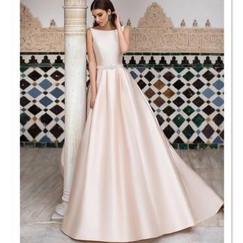 Hot Sale high-end quality satin a line wedding dress boat neckline long gown V back pink simple beading bridal dresses