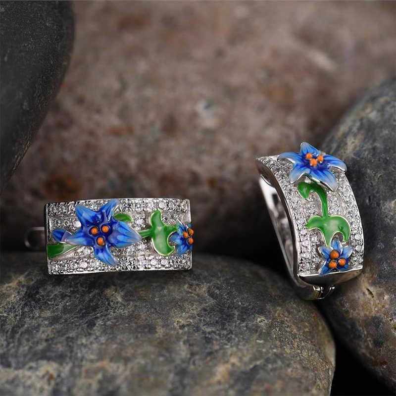 แฟชั่นดอกไม้สีฟ้า Plant Leaf แหวนต่างหูจี้สร้อยคอ Lily Daffodil สีเขียวใบ Rhinestone ชุดเครื่องประดับ Z3P544