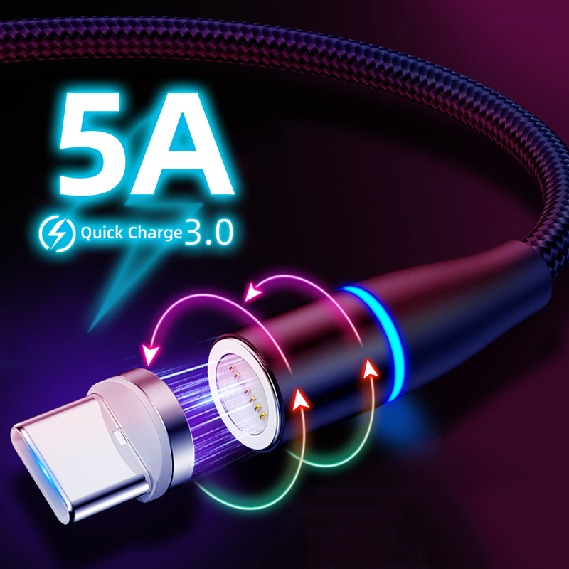 5A Magnetic Cable LED USB Type C Super Fast Charging Cable Phone Type C Magnet usb c Charger For Huawei For Xiaomi Redmi K20 Pro|Mobile Phone Cables| |  - AliExpress