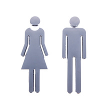 1 pair Acrylic Toilet Sign Plate MEN &WOMEN Set Self-adhesive Plaques Toilet/Loo/Bathroom/Restroom/WC Door Hot Sale
