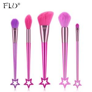 Набор кистей для макияжа FLD 10/5 шт., набор кистей для макияжа в виде звезд, основы для красоты, пудры, румян, теней для век, губ, косметика Docolor Make...