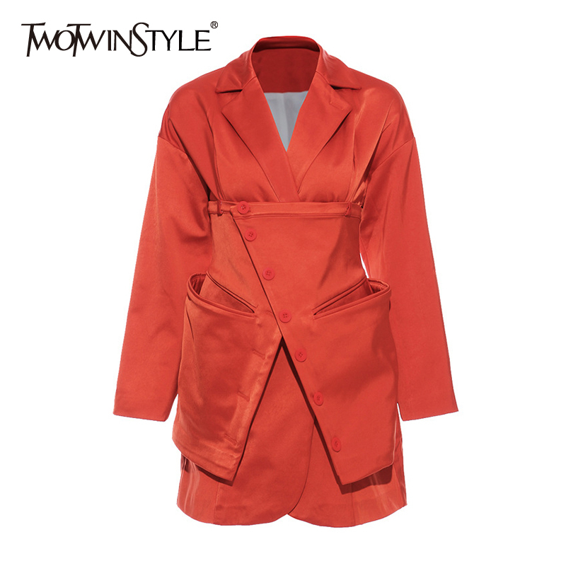 TWOTWINSTYLE Casual Loose Women Blazer Notched Collar Long Sleeve High Waist Asymmetrical Suits For Female Fashion Clothing Tide