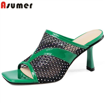 ASUMER 2020 big size 33-41 women slipper patent leather mesh summer thin high heel slipper ladies party prom shoes woman