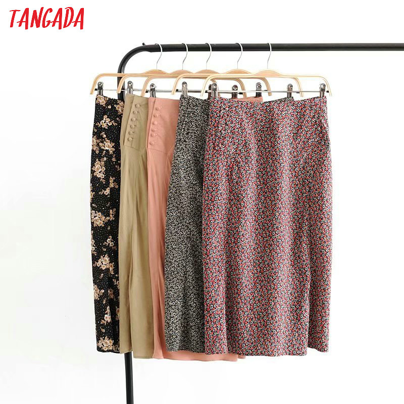 Tangada Women Flower Print Pencil Midi Skirt Faldas Mujer Vintage Side Zipper Casual Female High Waist Skirts 3D08