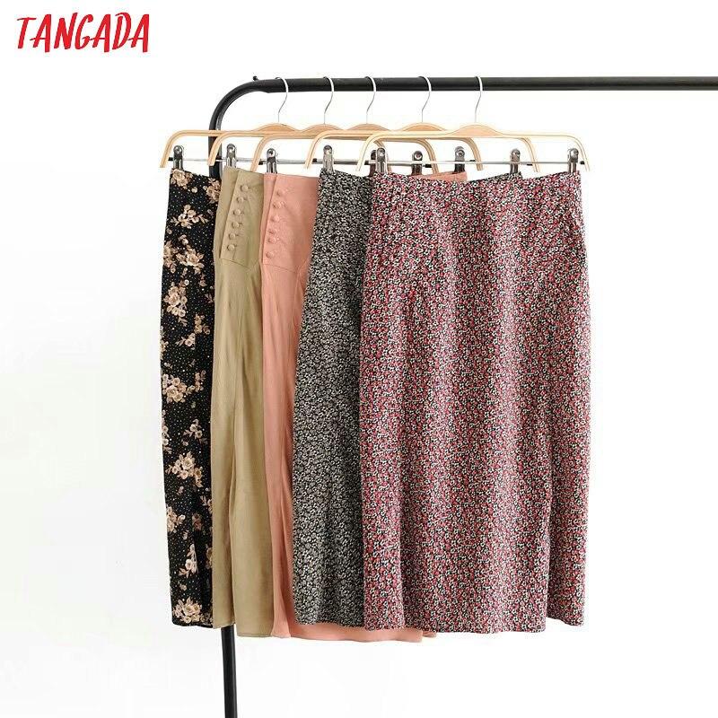 Tangada Women Flower Print Pencil Midi Skirt Faldas Mujer Vintage Side Zipper Casual Female High Waist Skirts 3D08