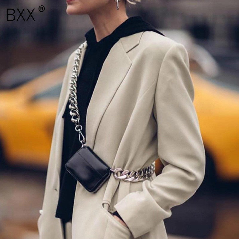 [BXX] 2020 Spring Summer Stylish Black White Colr Single Wide Chain Zipper PU Leather Small Messenger Bag All Match LM665