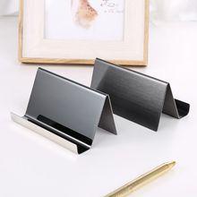 1pc Stainless Steel Business Card Holder Desktop Display Rack Organizer Black for Office Supplies
