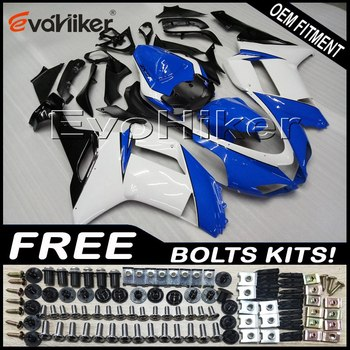 Custom motorcycle fairing for ZX6R 2007-2008 ABS motor panels Body Kit blue white +gifts