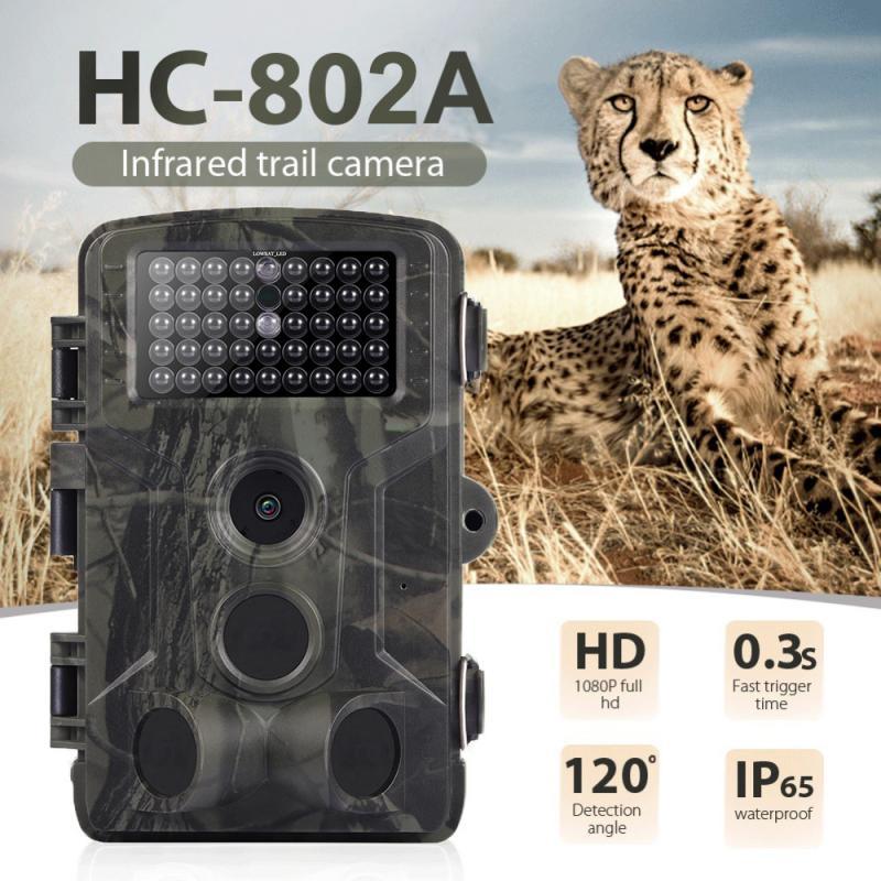 Spor ve Eğlence'ten Avcılık Kameraları'de Alan 16MP 1080P yaban hayatı takip kamerası fotoğraf tuzak kızılötesi avcılık kamera HC802A yaban hayatı kablosuz gözetim izleme kamera title=