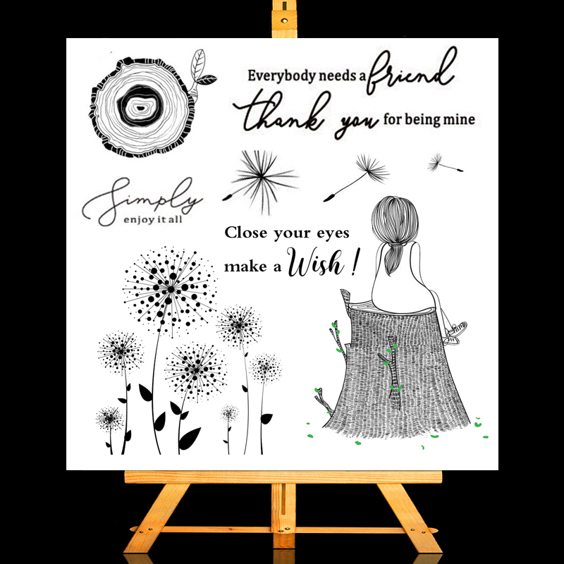 Dandelion Girl Transparent Stamps New 2021 Rubber Silicone Seal for DIY Scrapbooking Card Making Album Decoroation Crafts