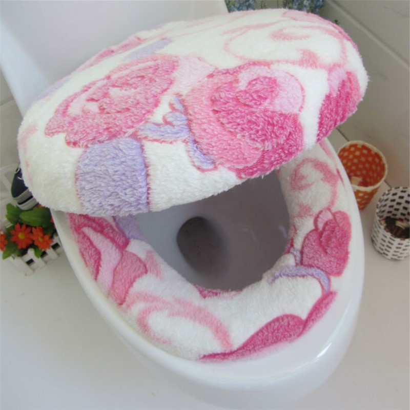 Super Soft Warm Clean Polyester Two-pieces Toilet Pad Seat Cover Washable Twin Sets