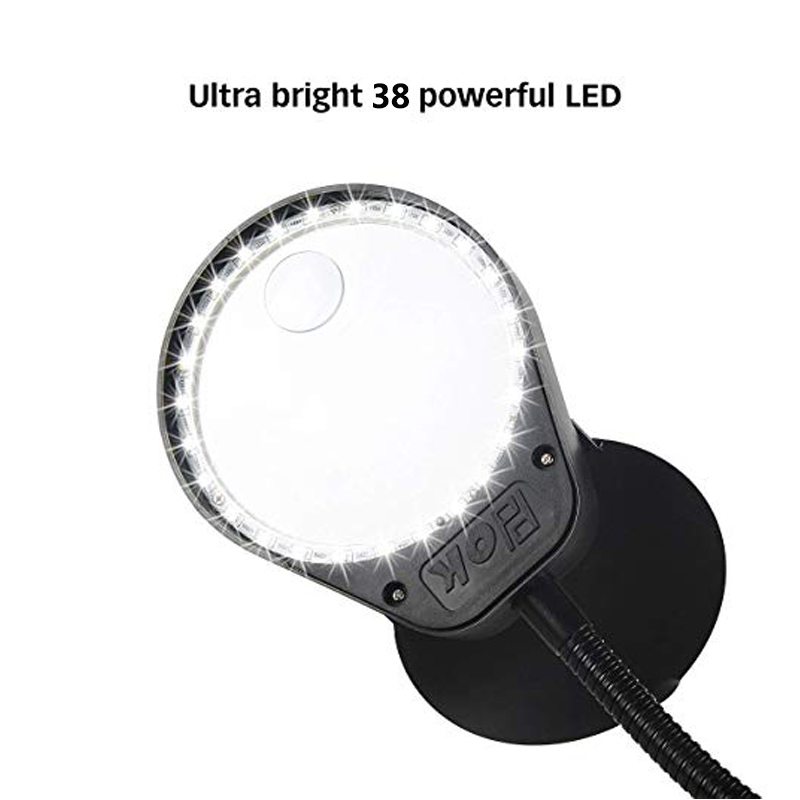 Tools : Illuminating Magnifier High Magnification 8X 15X Magnifying Glass with Led Lights Table Clamp Lamp