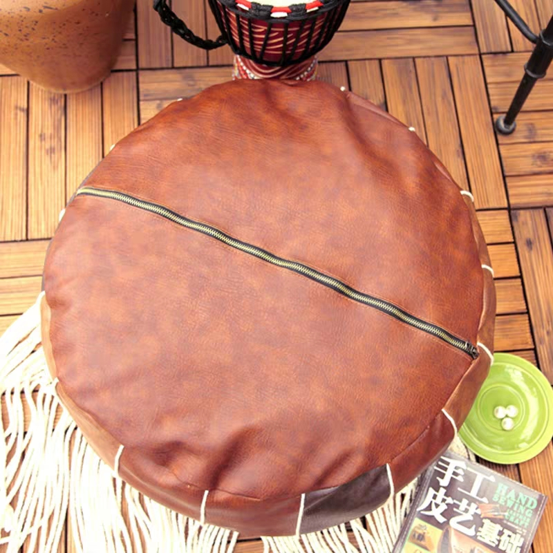 Moroccan PU Leather Pouf Embroider Craft Hassock Ottoman Footstool Round  Large 50*50*25cm  Artificial Leather Unstuffed Cushion 4