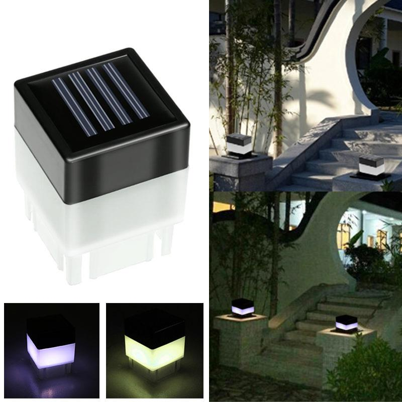 Square Solar LED Lamp Solar Powered Light Pool Pathway Fence Post Park