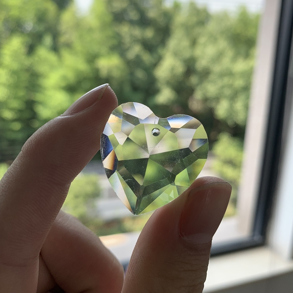 5Pc Clear Love Heart Faceted Glass Art Crystal Lamp Part Chandelier Prism Charm Pendant 28MM Suncatcher Spacer Beads Mobile