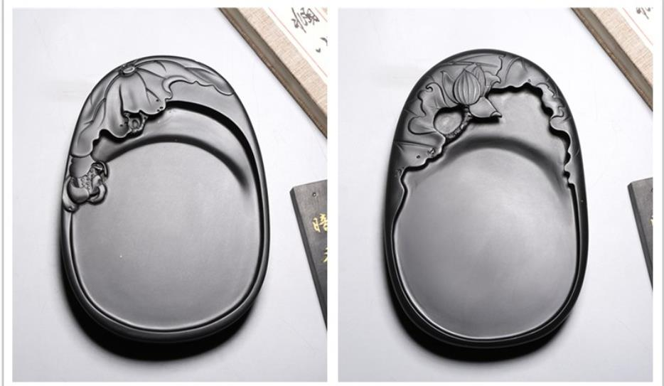 Hand carved Lotus leaf, lotus Inkstone Natural Rock She Ink Stone Small Inkstone Calligraphy Painting Tool