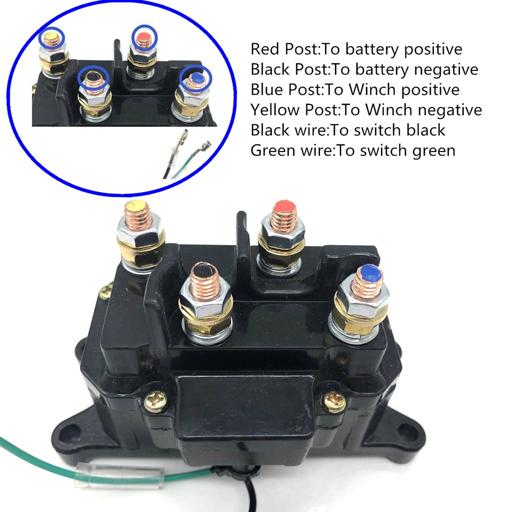 Replacement 12V 250A Solenoid Relay Contactor Winch Rocker Switch Thumb ATV