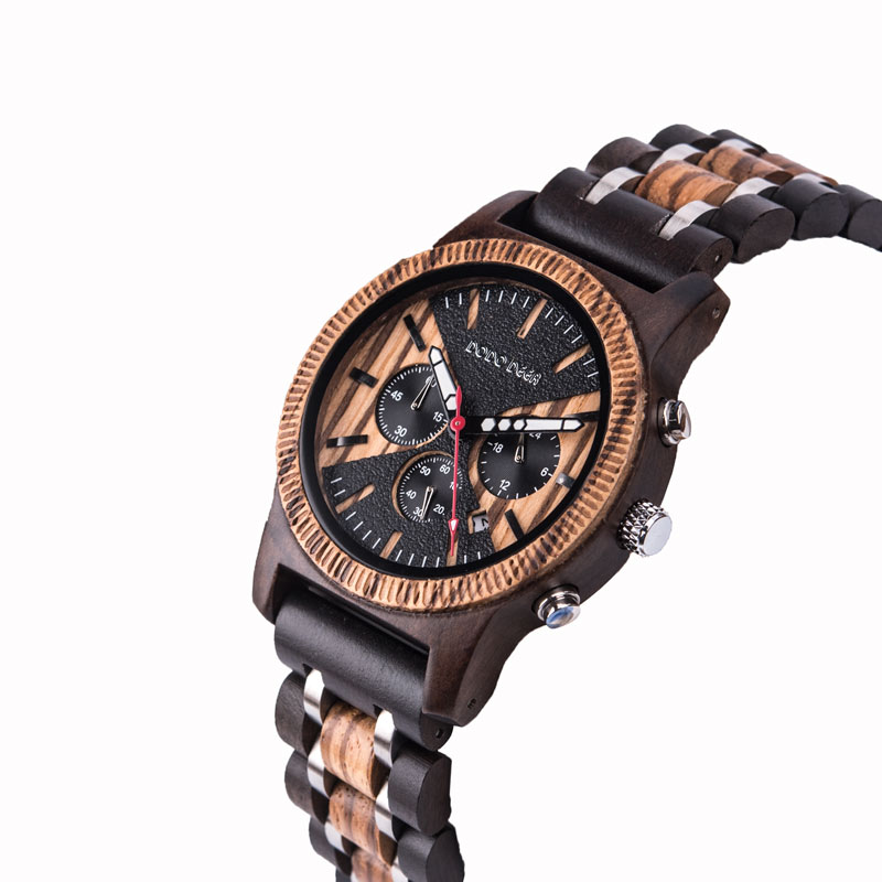 DODO DEER Wooden Stainless Steel Watch Men Water Resistant Timepieces Chronograph Quartz Watch Relogio Masculino Men's Gifts C08