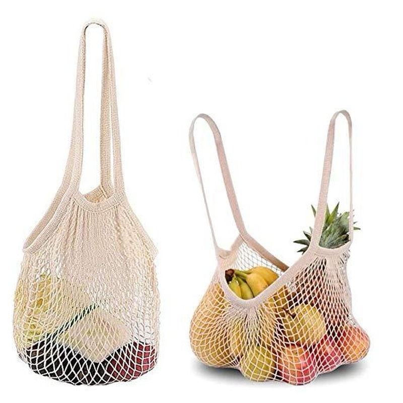 Green Shopping Bag Handbag Reusable Fruit Shopping String Grocery High Capacity Shopper Tote Cotton Woven Net Bag Net Pocket