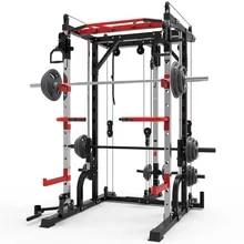 128KG Smith machine steel squat rack gantry frame fitness home comprehensive training device free squat bench press frame.