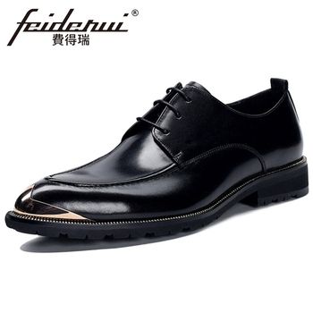 New Fashion Genuine Leather Men's Platform Daily Oxfords Metal Toe Laces Man Formal Dress Office Derby Shoes BQL297