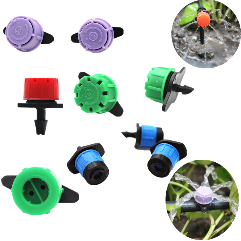 Kunststoff Einstellbare Fluss Micro Spray Tropf Kopf Tropf Bewässerung Sprinkler Blumentopf Tropfen Kopf Tropf Emitter Garten Bewässerung