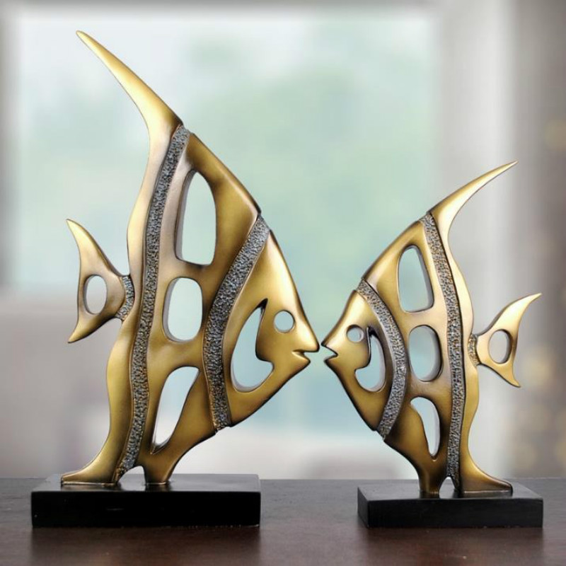 Creative Home Decor Abstract Fish Sculpture Decoration Figurine Decorative Resin Fish Statue TV Background Xmas Gift Lucky Fish|Statues & Sculptures| |  - title=