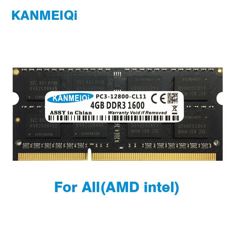 KANMEIQi DDR3 2GB 4GB 8GB Notebook RAM DDR3L 1333 1600MHZ 1866MHz 1.35v 1.5V 204pin Laptop Memory Sodimm New