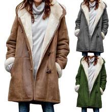 Plus Size 2019 Winter Parka Coat Women Hooded Jacket Solid Color Horn Buckles Fl