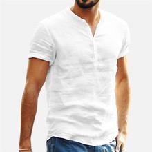 Męskie lniane koszule z krótkim rękawem oddychające męskie workowate koszule na co dzień Slim Fit trwała bawełna koszule męskie pulowerowe topy bluzka tanie tanio GAOKE REGULAR Polo NONE Stałe Linen Szybkie suche