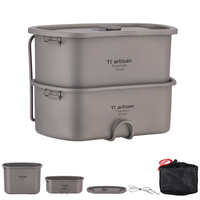 Tiartisan New Arrival Titanium Outdoor Camping Cookware Pot Set 750ml+450ml Military Canteen Lunch Box and army Water cup Ta8751