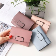 HUGWISER Ladies'Short Wallet Simple Square Style Hand-made Photo ID Check Wallet Factory Shop Direct Selling