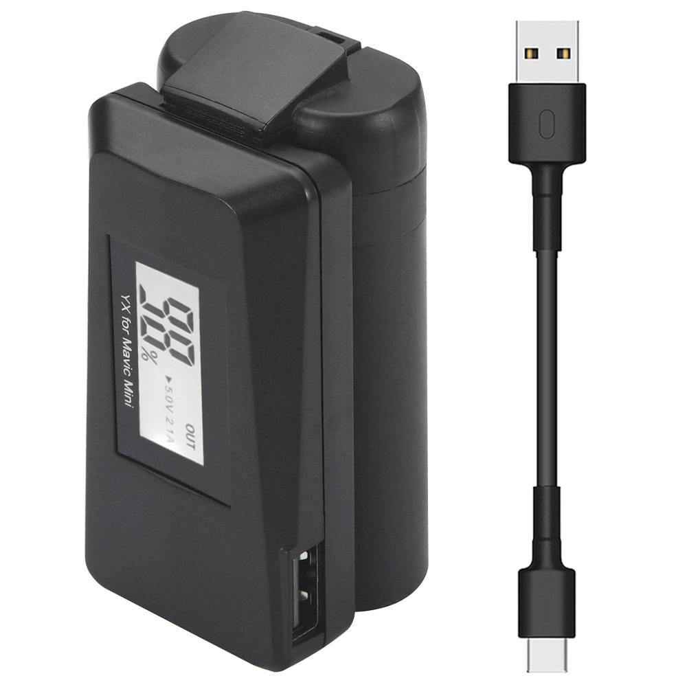 YX For DJI Mavic Air 2 QC3.0 Fast Charger Battery USB Charging ,With TYPE C Cable ,LED Charger For Mavic Air2 Drone Accessories