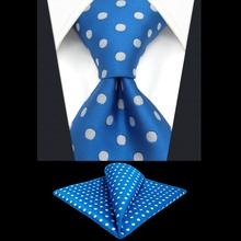 """Мужской набор галстуков синий белый в горошек Шелковый Классический Новинка свадебный платок 6"""" галстуки для мужчин Вечерние"""